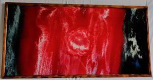 Intemporelle tableau sur support bois peinture acrylique rouge blanc noir bleu